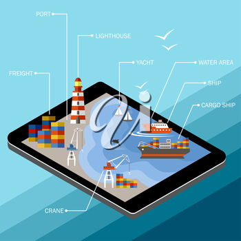 Seaport on the tablet screen. The infrastructure of the port in the style of flat design. Sea transportation. Vector illustration