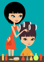 Woman in hairdressing beauty salon. Vector illustration