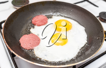 eggs and sausage on frying pan