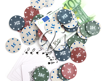Casino chips and cards, and a hundred euros on a white background