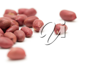 Peanuts on a white background. close