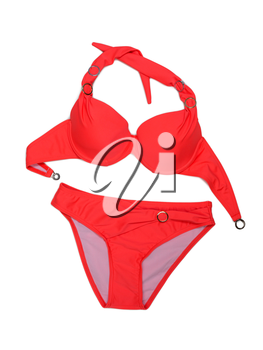 Bright red fashionable swimsuit. Bra, panties. Isolate on white.
