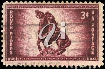 Royalty Free Photo of 1948 US Stamp Shows the Statue of Captain William O. (Bucky) O'Neill, Rough Riders Issue