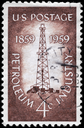 Royalty Free Photo of 1959 US Stamp Shows the Oil Derrick, Petroleum Industry Issue