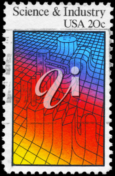 Royalty Free Photo of 1983 US Stamp Shows the Abstract Depiction on the Theme of Science and Industry