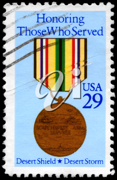Royalty Free Photo of 1991 US Stamp Shows the Southwest Asia Service mMdal