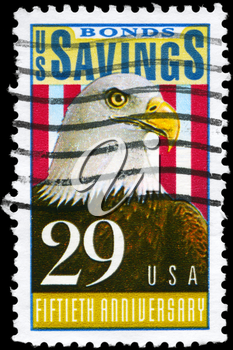 Royalty Free Photo of 1991 US Stamp Devoted to Savings Bonds, 50th Anniversary