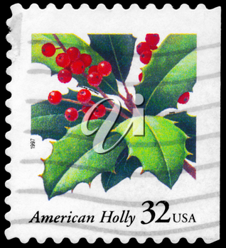 Royalty Free Photo of 1997 US Stamp Shows the American Holly