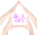 Royalty Free Photo of a House Shape Made From Hands