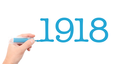 The year of 1918written with a marker