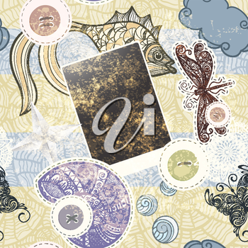 Royalty Free Clipart Image of a Scrapbooking Background of Buttons, Butterflies, Dragonflies, Fish and Shells