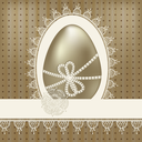 Royalty Free Clipart Image of an Easter Egg with Lace and a Border