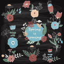 Vector Chalk Drawn Spring Floral Design Elements