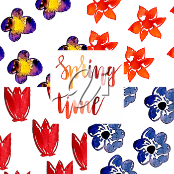 Vector Collection of 4  Seamless Watercolor Patterns with spring flowers.  Best for wrapping paper, cards or textile