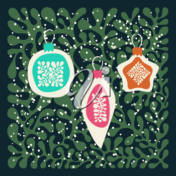 Vector winter background floral  pattern. Christmas  fir tree decoration