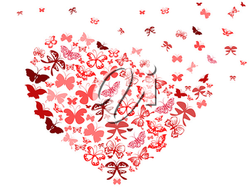 Royalty Free Clipart Image of Butterflies Forming a Heart
