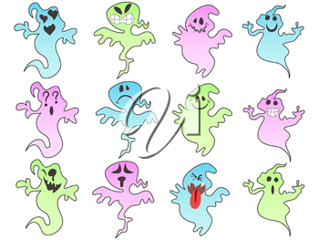 Royalty Free Clipart Image of Halloween Ghosts
