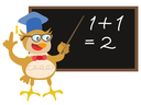 Royalty Free Clipart Image of an Owl Teaching Math