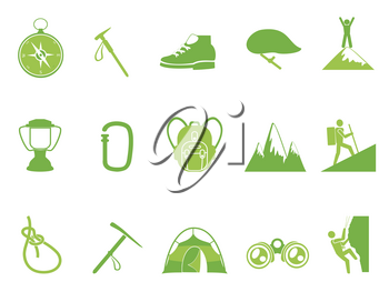 isolated green color climbing mountain icons set from white background