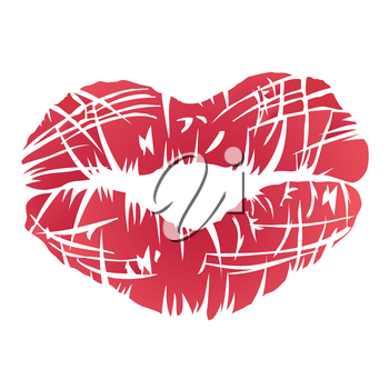 isolated red lips symbol on white background