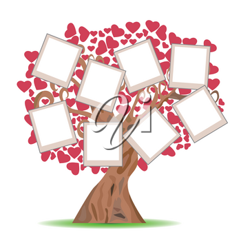 isolated heart tree with picture frames on white background