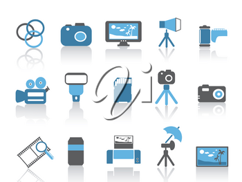 isolated blue color photography element icons set from white background