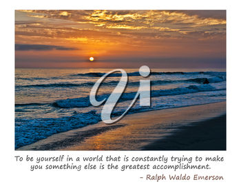 Royalty Free Photo of a California Ocean Sunset With Emerson Quote
