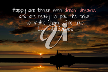 Royalty Free Photo of a Sunset and Inspirational Quote