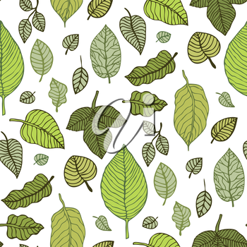 Leaves. Seamless pattern with leaf. Hand Drawn vector background.