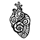 Decorative heart. Tribal pattern. Ethnic tattoo. Vector illustration
