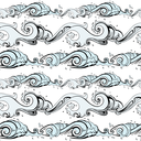 Grange Sea background. Hand drawn vector illustration