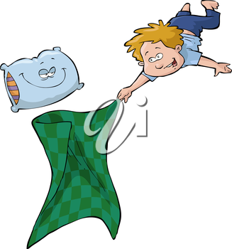 Royalty Free Clipart Image of a Boy with His Blanket and Pillow