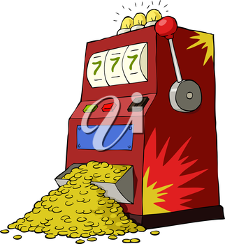 Royalty Free Clipart Image of a Winning Slot Machine