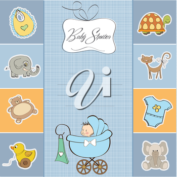 Royalty Free Clipart Image of a Baby Shower Invitation for a Boy