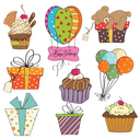 Royalty Free Clipart Image of Birthday Elements