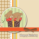 Royalty Free Clipart Image of a Birthday Card With a Bear on a Gift