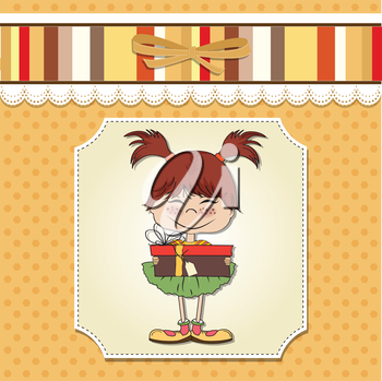 Royalty Free Clipart Image of a Girl Holding a Present on a Yellow Background With Stripes Across the Top