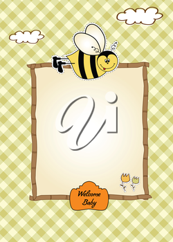 baby shower card with funny little bee, vector illustration