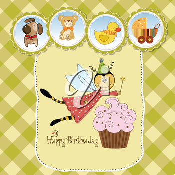 Childish birthday card with funny dressed bee, vector illustration