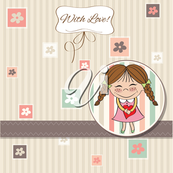 Funny girl with hearts. Doodle cartoon character. Vector Illustration.