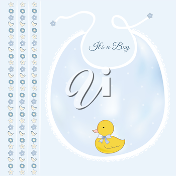baby shower card with little duck, vector illustration