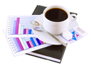 Coffee cup, standing on the personal organizer, on a back background-financial diagrams . Isolated