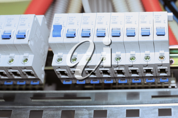 Telecommunication equipment, main power switch in a datacenter.
