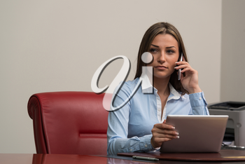Beautiful Young Woman Working On Computer And Talking On Phone- Businesswoman Working Online