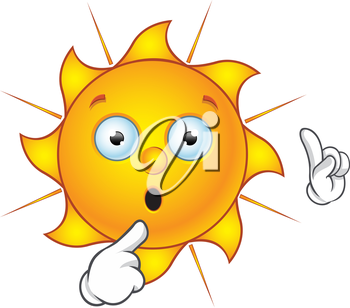Royalty Free Clipart Image of a Surprised Sun