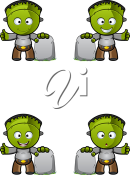 Royalty Free Clipart Image of Monsters and Tombstones