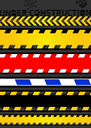 Set caution tapes, seamless strip. Warning line, vector design
