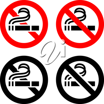 Smoking area set symbols, not allowed sign