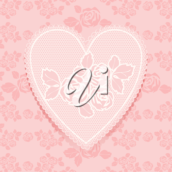 Lace pink in heart shape. Vector illustration 10eps