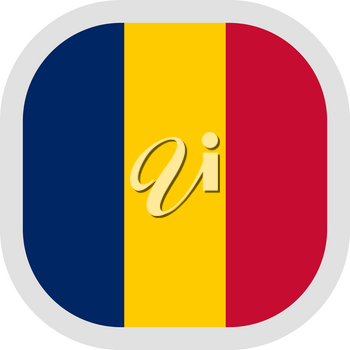 Flag of Republic of Chad. Rounded square icon on white background, vector illustration.